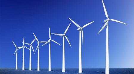 Wind turbines farm in sea near Denmark